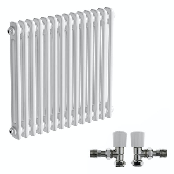 The Bath Co. Camberley white 2 column radiator 600 x 654 with angled valves