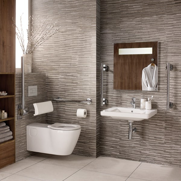 Ideal Standard Concept Freedom accessible bathroom suite with wall hung basin 600mm