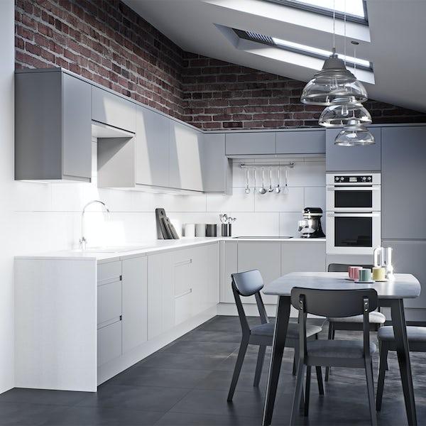 Schon Chicago light grey handleless 600mm single oven housing unit