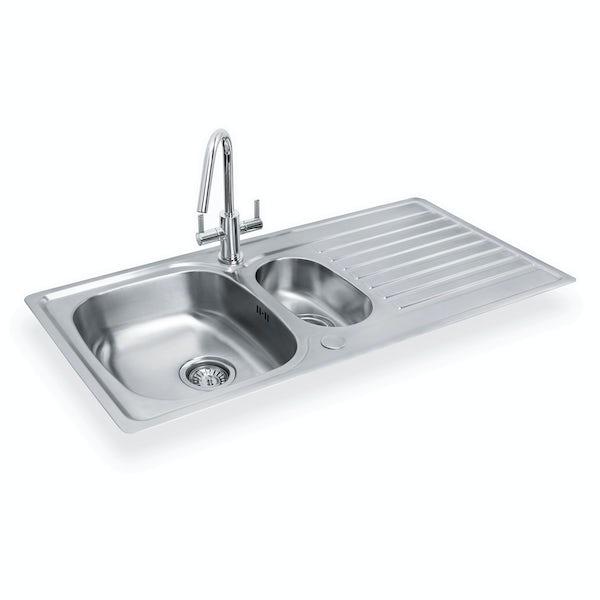 Bristan Inox easyfit universal sink 1.5 bowl stainless steel with cashew tap
