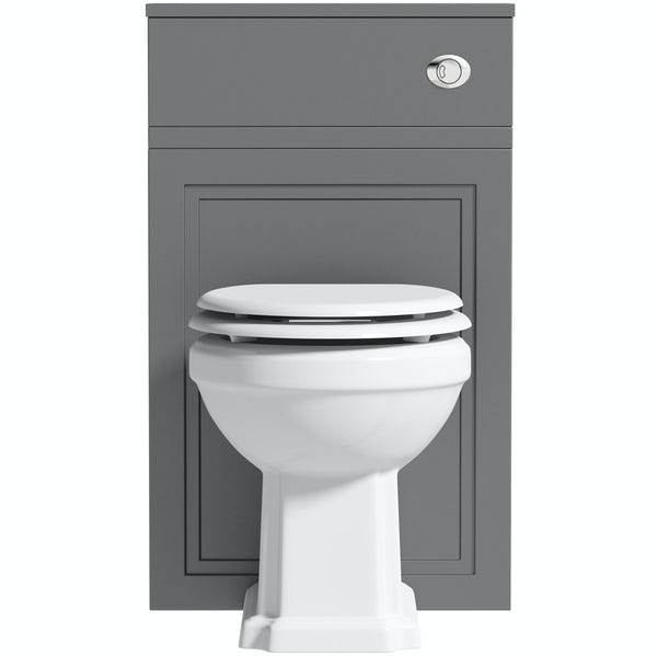 The Bath Co. Chartham slate matt grey back to wall unit and traditional toilet with white wooden seat