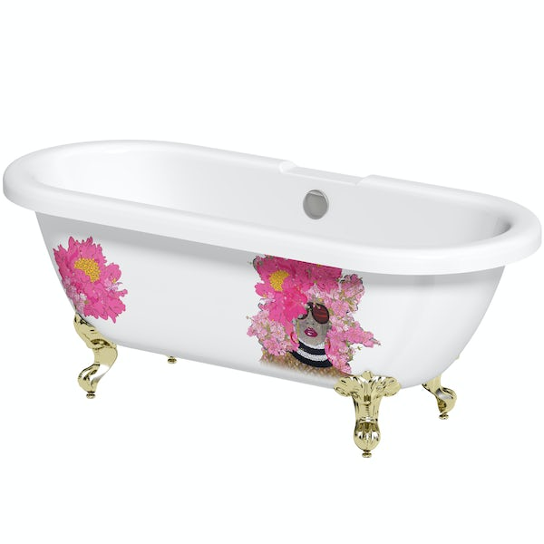 Louise Dear Kiss Kiss Bam Bam roll top freestanding bath with gold claw feet