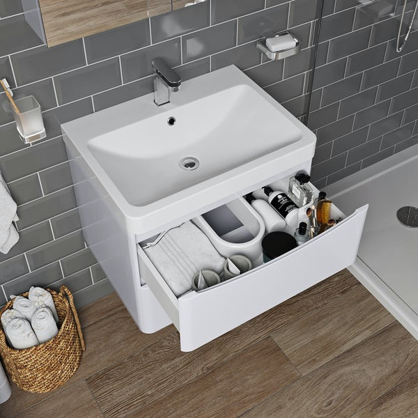 Mode Adler white 600mm wall hung vanity unit and basin