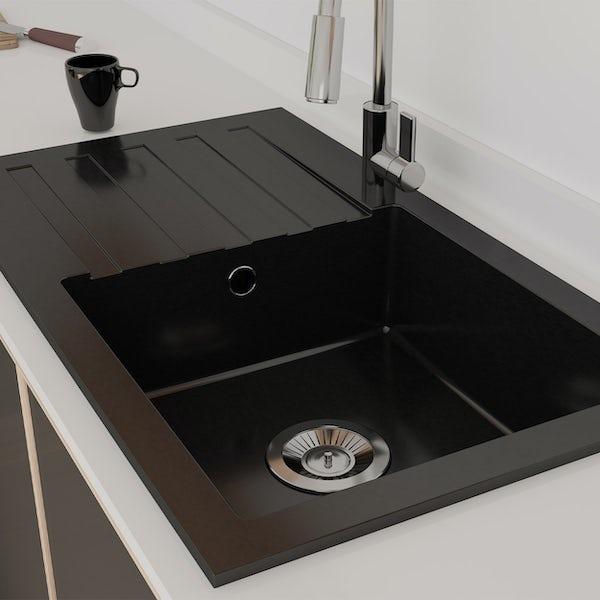 Schon Arola Obsidian black 1.0 bowl reversible countertop kitchen sink