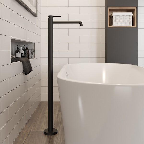 Mode Spencer black freestanding bath filler tap