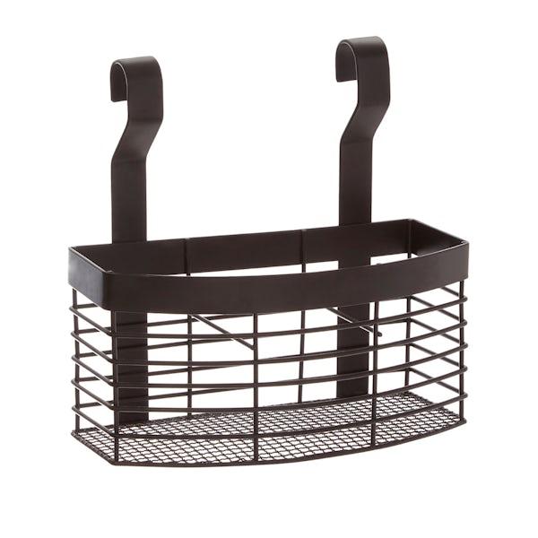 Matt black hanging storage basket
