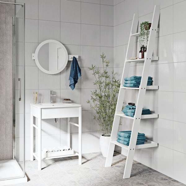 Mode South Bank white furniture package with ladder shelves