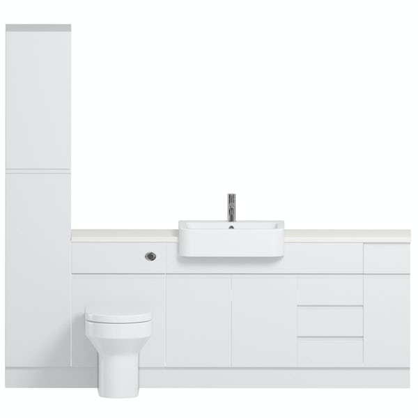 Reeves Wharfe white straight large storage fitted furniture pack with white worktop