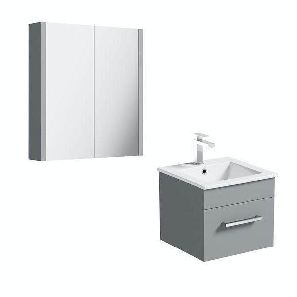 Orchard Derwent stone grey vanity unit 420mm and mirror