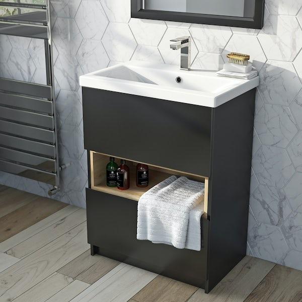 Mode Tate anthracite black & oak vanity unit with basin 600mm