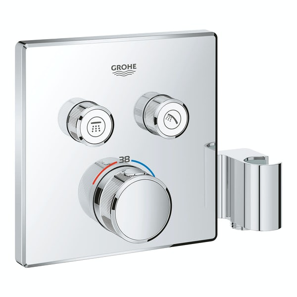 Grohe Grohtherm SmartControl square thermostatic concealed 2 way shower valve trimset with shower holder