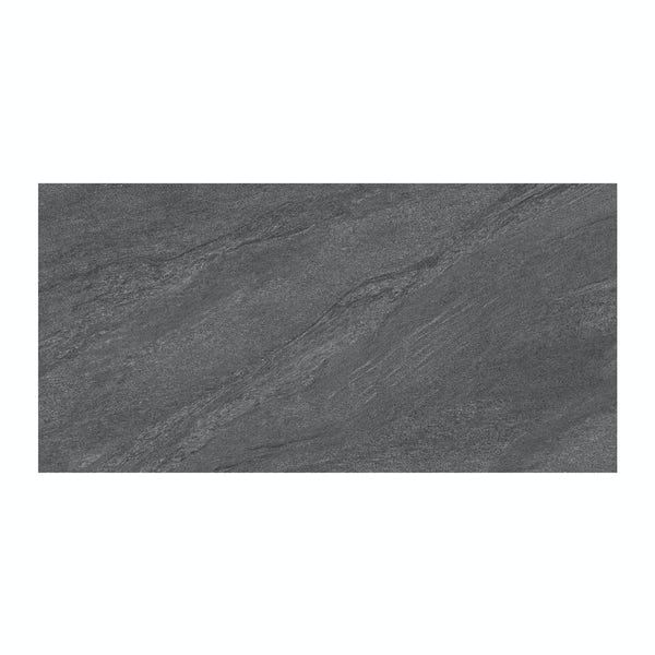 Alicura grey stone effect matt wall and floor tile 300mm x 600mm