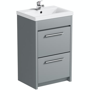 Clarity satin grey floorstanding vanity unit and ceramic basin 510mm