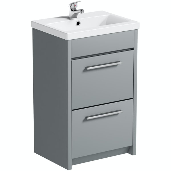 Clarity satin grey floorstanding vanity unit and ceramic basin 510mm with tap