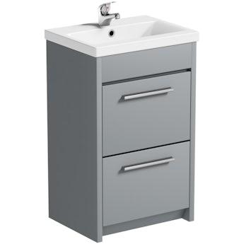 Clarity satin grey floorstanding vanity unit and ceramic basin 510mm