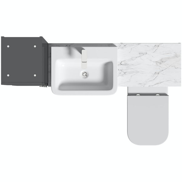 Mode Nouvel gloss grey tall fitted furniture combination with white marble worktop