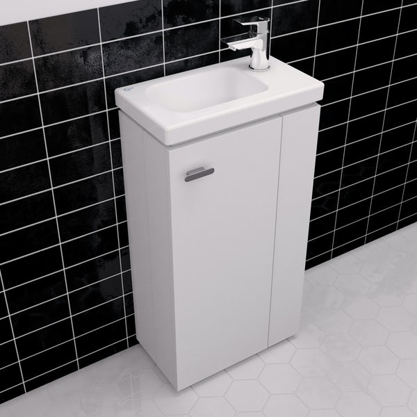 Ideal Standard Concept Space white floor standing vanity unit and right handed basin 450mm