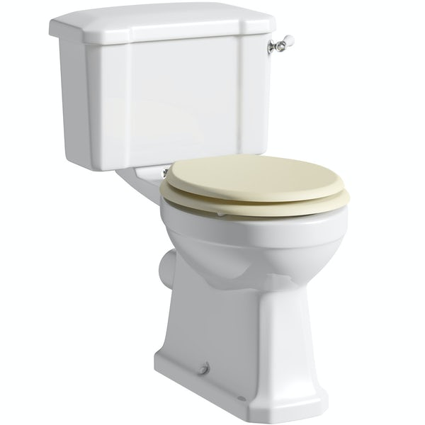 The Bath Co. Camberley close coupled toilet with Ivory soft close seat with pan connector