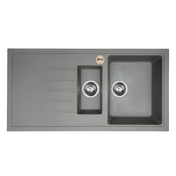 Bristan Gallery quartz black easyfit sink 1.5 bowl with right drainer