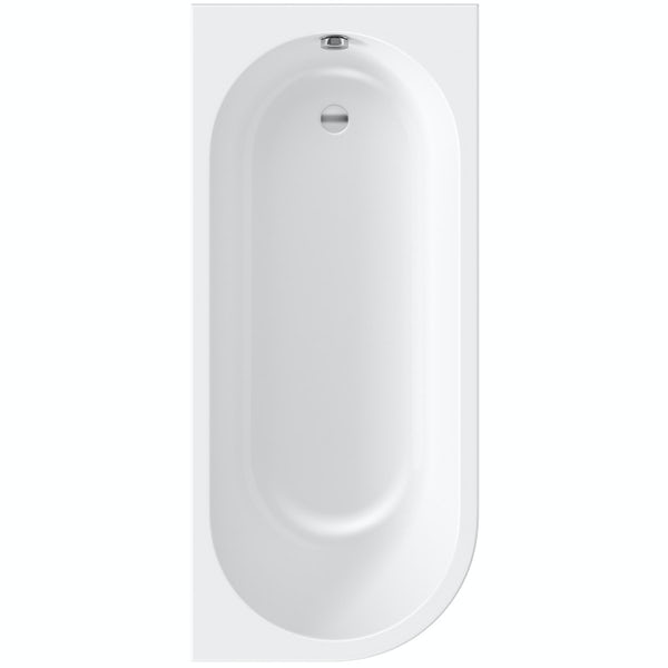 Orchard Elsdon right handed J shaped single ended shower bath 1700 with folding hinged shower bath screen