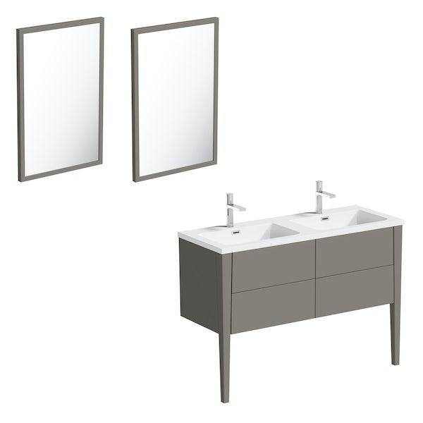 Mode Hale greystone matt double basin vanity unit 1200mm with mirrors