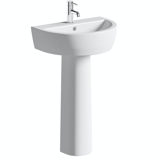 Mode Tate back to wall toilet and unit with full pedestal basin suite 550mm