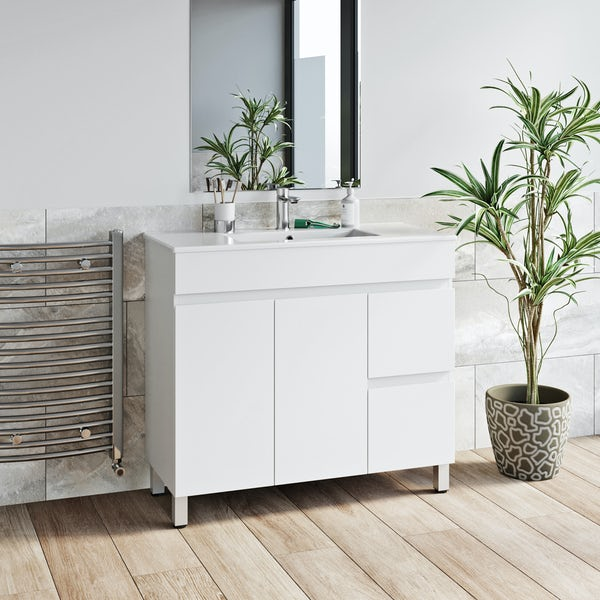 Orchard Thames white floorstanding vanity unit and ceramic basin 915mm