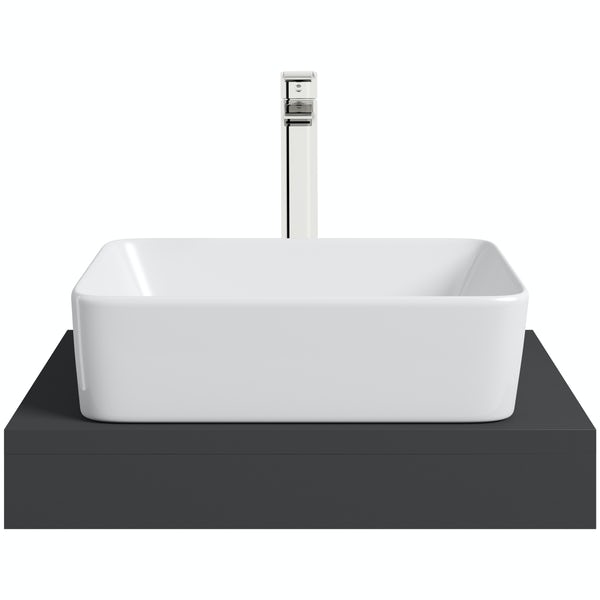 Mode Orion slate gloss grey countertop shelf 600mm with Ellis countertop basin, tap and waste