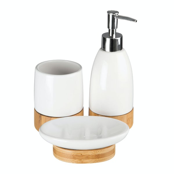 Earth white and bamboo 3pc bathroom accessory set