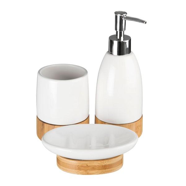 Earth white and bamboo 3pc bathroom accessory set