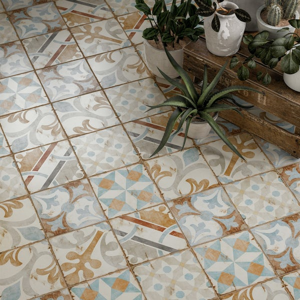 Aragon patchwork mix matt wall and floor tile 200mm x 200mm