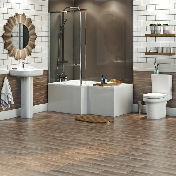 Mode Burton complete left hand shower bath suite