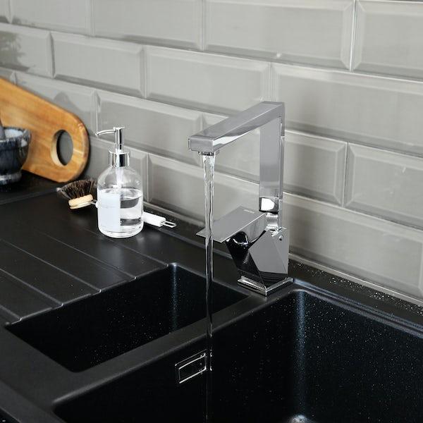 Bristan Gallery quartz black easyfit kitchen sink 1.5 bowl with left drainer