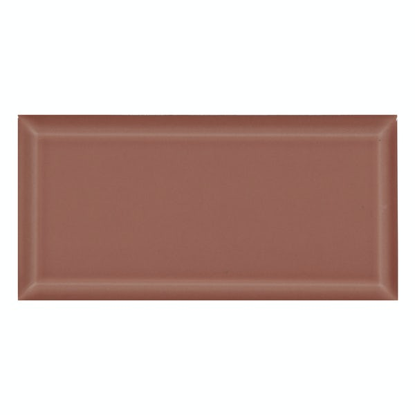 Deep Metro rose pink bevelled gloss wall tile 100mm x 200mm