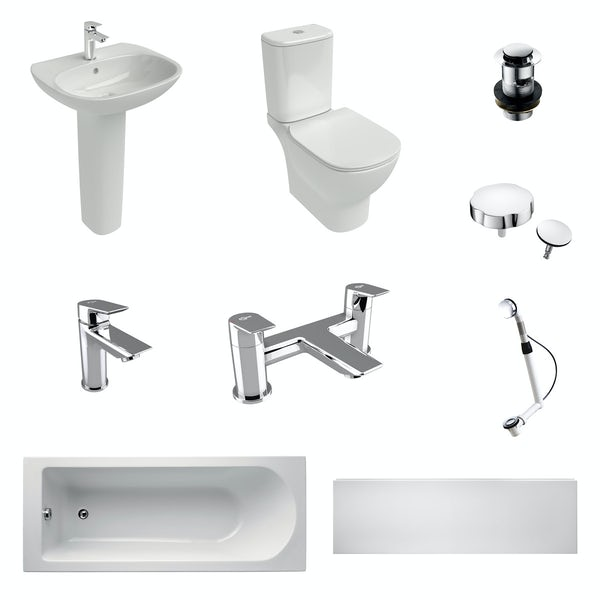 Ideal Standard Tesi complete bathroom suite with straight bath, taps, panel and wastes 1700 x 700