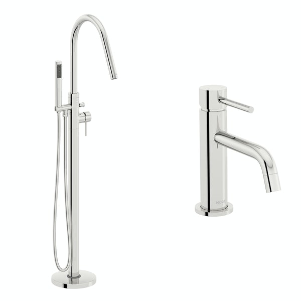 Mode Spencer basin and freestanding bath tap pack