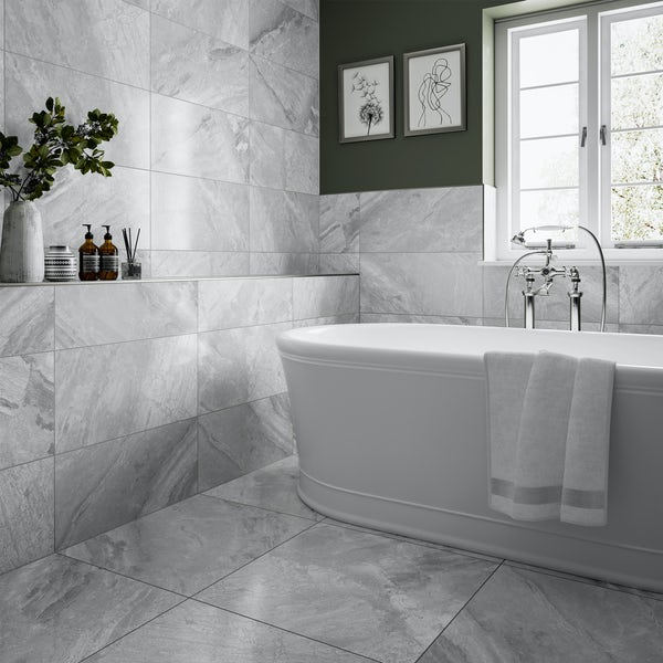 Fusion silver marble effect matt wall and floor tile 300mm x 600mm