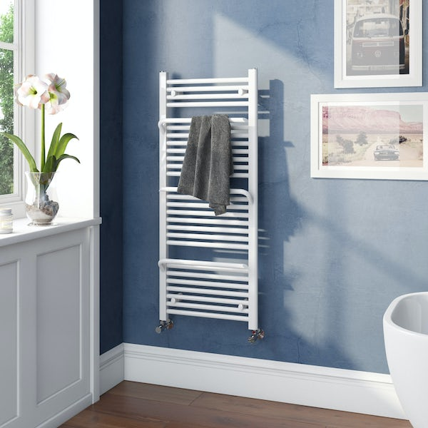 Mode Rohe white heated towel rail with hangers 1200 x 500