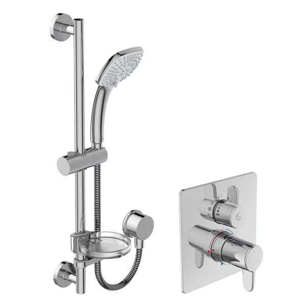 Ideal Standard Concept Freedom square concealed thermostatic mixer shower with slider rail