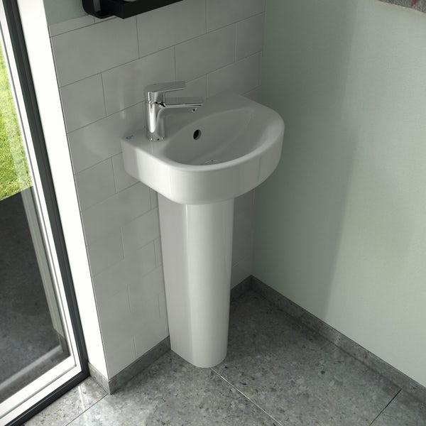 Ideal Standard Concept Space 1 tap hole left handed full pedestal basin 350mm