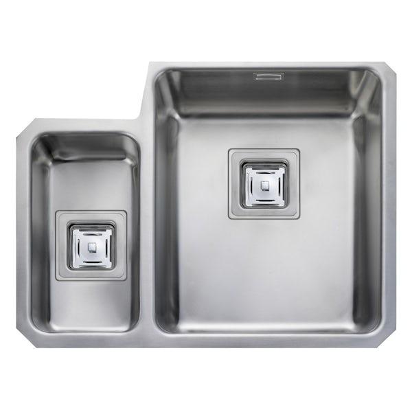 Rangemaster Atlantic Quad 1.5 bowl undermount left handed kitchen sink with waste