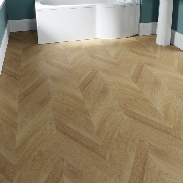 Faus Chevron Natural Oak moisture resistant click flooring 8mm