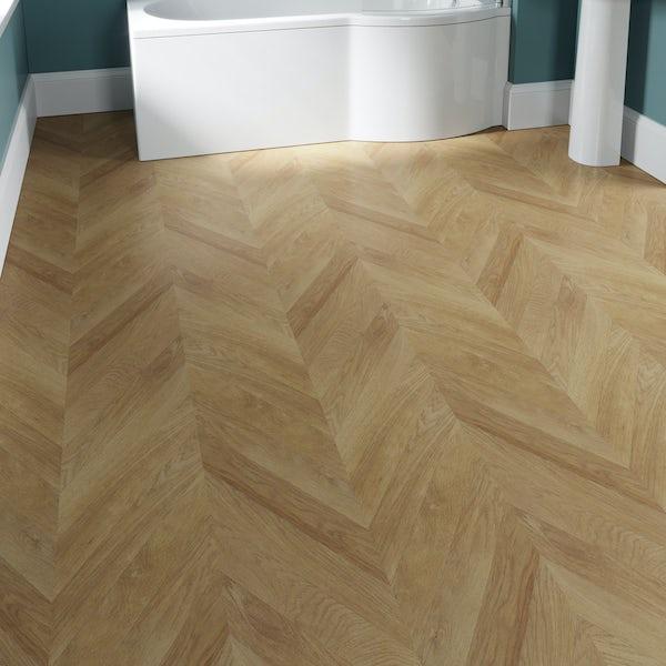 Faus Chevron Natural Oak moisture resistant click flooring 8mm