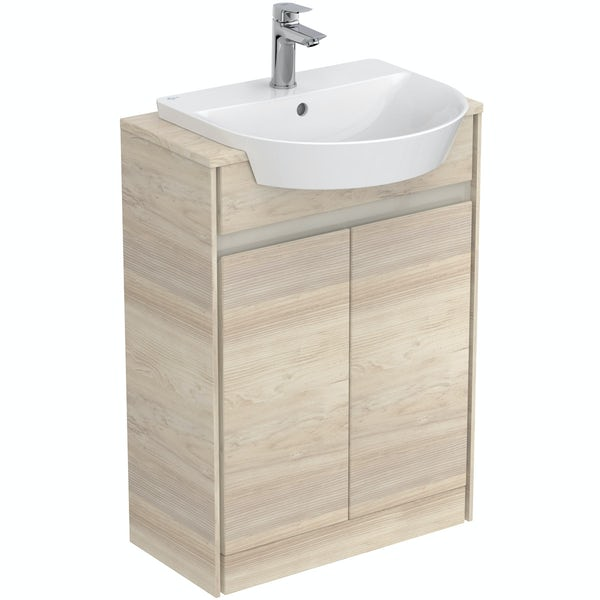 Ideal Standard Concept Air wood light brown vanity unit and recessed basin 600mm
