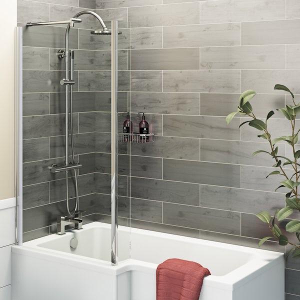 Kielder grey wood effect matt wall and floor tile 150mm x 600mm