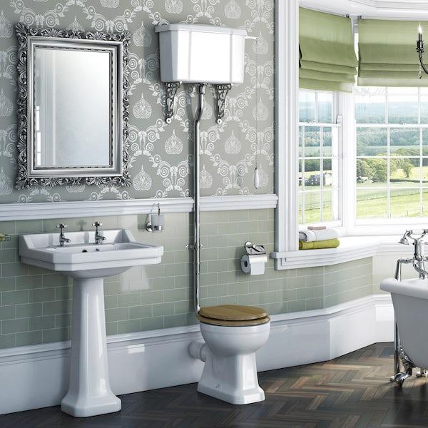 Camberley High Level Toilet inc Luxury Solid Oak Seat