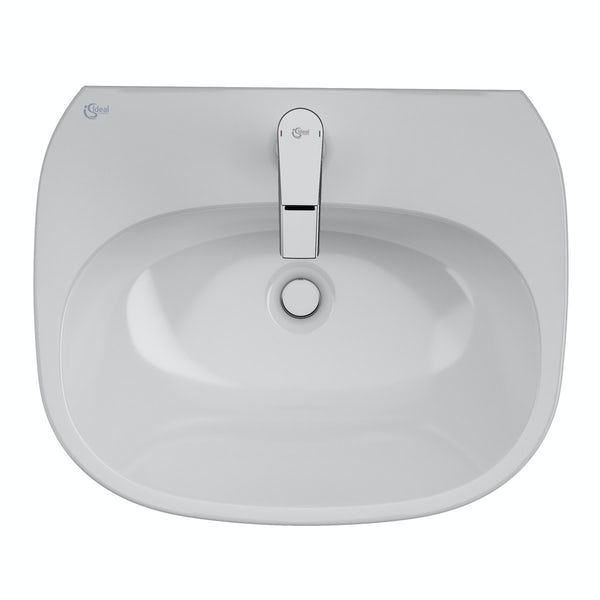 Ideal Standard Tesi back to wall cloakroom suite with semi pedestal basin