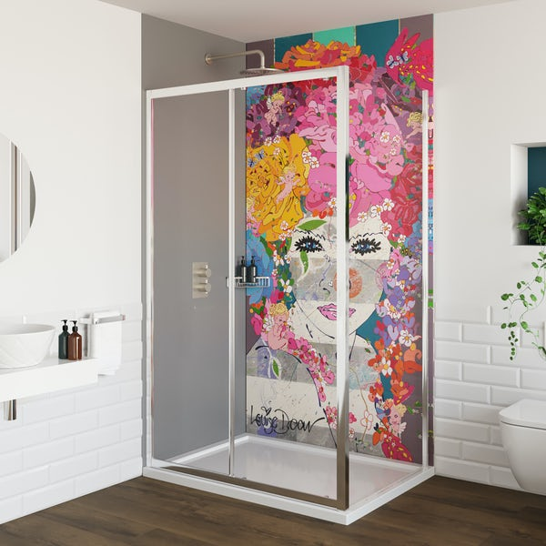 Louise Dear The Serenade Grey acrylic shower wall panel pack with rectangular enclosure
