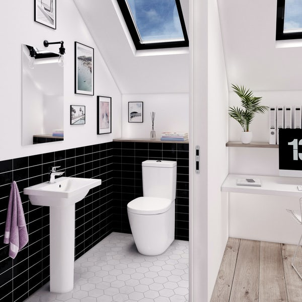 Ideal Standard Concept Space cloakroom suite with full pedestal basin 550mm