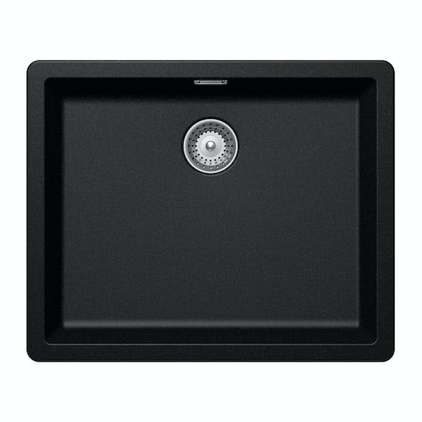 Rangemaster Schock Greenwich 1.0 bowl granite inset magma metallic black kitchen sink